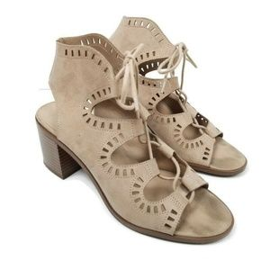 Mossimo Supply Eyelet Lace Up Sandal Stacked Heel